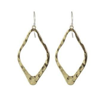 Sterling Silver & Brass Diamond Shape Open Up Earrings