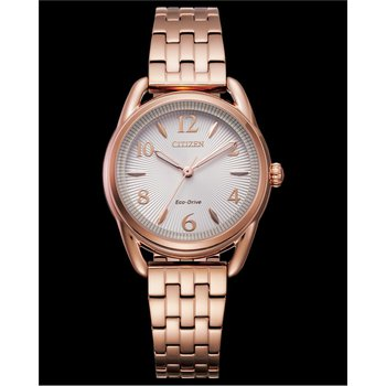 Stainless Steel Rose Tone Eco-Drive Watch w/ White Face