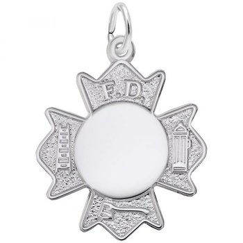Sterling Silver Fire Department Badge Charm