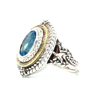 Sterling Silver Swiss Blue Topaz Ring w/ 18KY Accents, Size 7