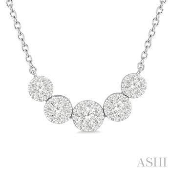 "14KW ""Lovebright"" Diamond 5 Clusters Pendant w/ 0.50 ctw, 18"" Chain"