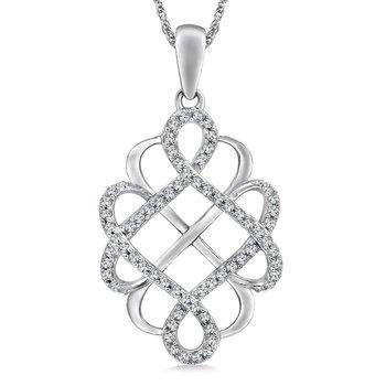 14KW Diamond Free Form Pendant and Chain w/ 0.20 ctw