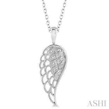 "Sterling Silver Diamond Angel Wing w/ 0.05 ctw, 18"" Chain"