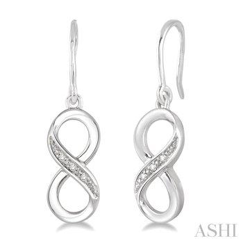 Sterling Silver Round Cut Diamond Infinity Earrings w/ 0.03 ctw