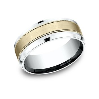 14K Two Tone 8 mm Drop Bevel Band w/ Satin Center, Size 10