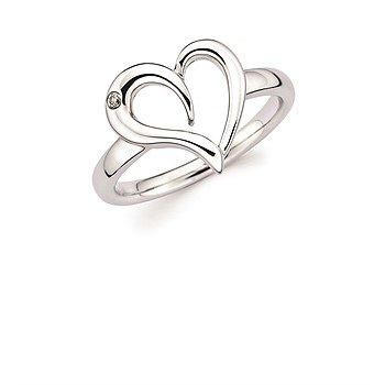 Sterling Silver Diamond Heart Ring w/ 0.02 ctw, Size 7