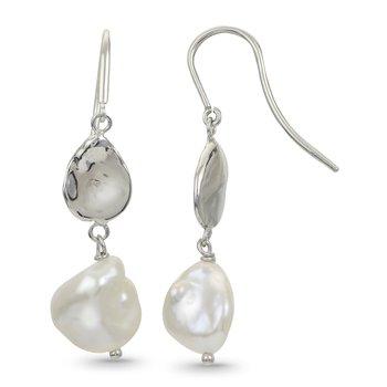 Sterling Silver Keshi Fresh Water Cultured Pearl & Keshi Hook Earrings w/  9 -- 10 mm Pearls