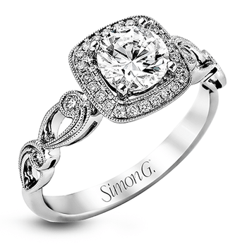18KW Engagement Semi-Mount Ring w/ 0.16 ctw, Size 7