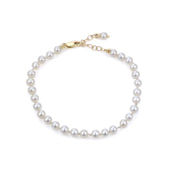 """14K Fresh Water Cultured Pearl Childrens Bracelet w/ 4 -- 4.5 mm Pearls, 5"""" Bracelet With 1"""" Ext."""