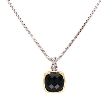 """Sterling Silver Black Onyx Pendant w/ 18KY Accent & 18"""" Chain"""