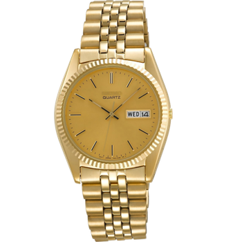 Stainless Steel Gold Tone Analog Quartz Watch w/ Lumibright Hands and Day & Date Marker