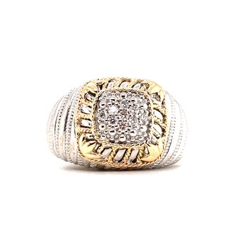 Sterling Silver Diamond Fashion Ring w/ 14KY Accents & 0.14 ctw, Size 7