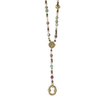 "Brass & Opal Evolution Y Necklace 24"" w/ 3"" Drop Charm Holder"