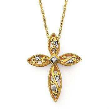 "14KY Diamond Cross Pendant w/ 0.02 ctw, 18"" Rope Chain"