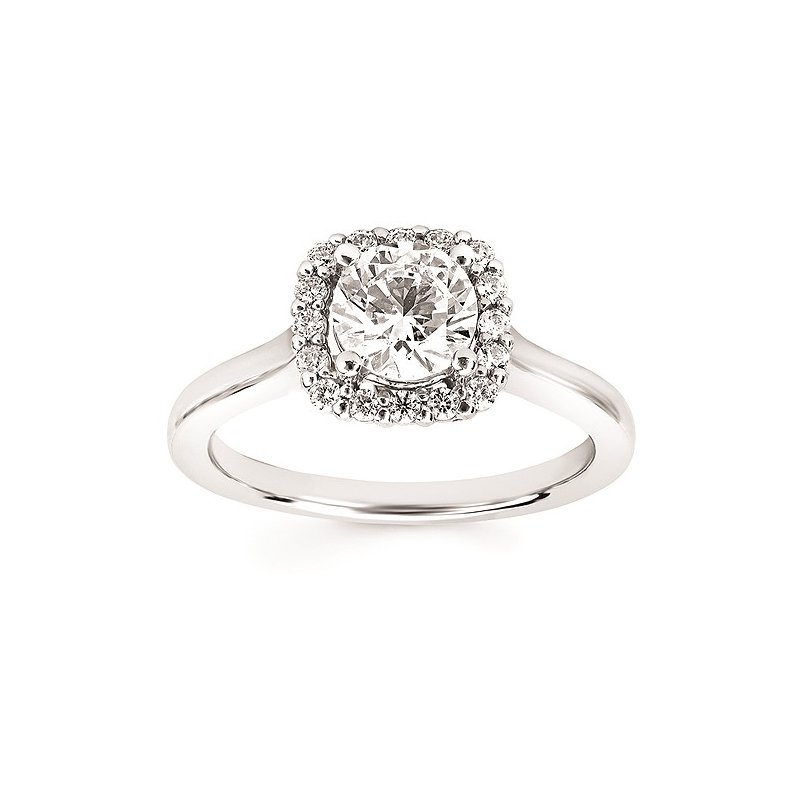 Green Brothers Collection 14KW Diamond Halo Semi-Mount Engagement Ring w/ 0.22 ctw, Size 7