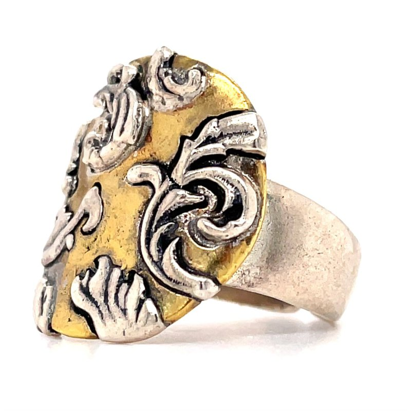 Waxing Poetic Sterling Silver & Brass Allegro Ring, Size 9