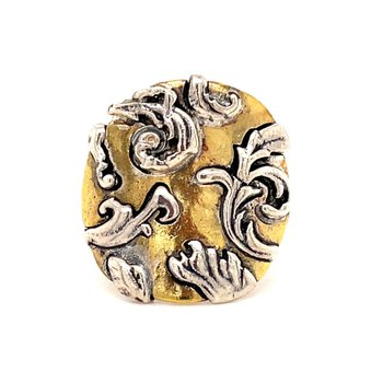 Sterling Silver & Brass Allegro Ring, Size 9