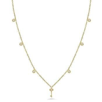 """14KY Diamond Key Necklace w/ 0.14 ctw 18"""" Chain"""