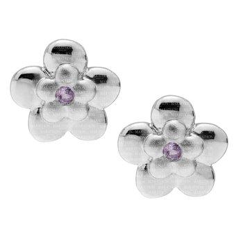 Sterling Silver Pink Sapphire Flower Earrings