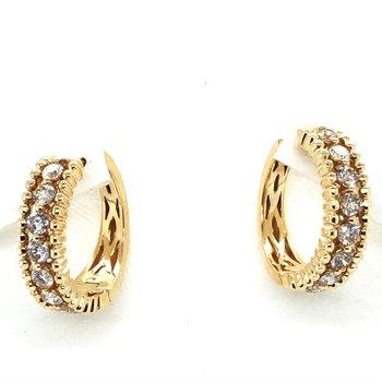 14KY Diamond Huggy Hoop Earrings w/ 0.98 ctw