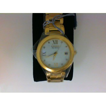 Stainless Steel Yellow Tone Watch w/ Diamonds on Face