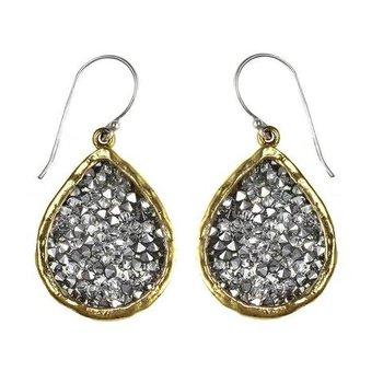 Sterling Silver & Brass Kristal Teardrop Earrings w/ Swarovski Crystals