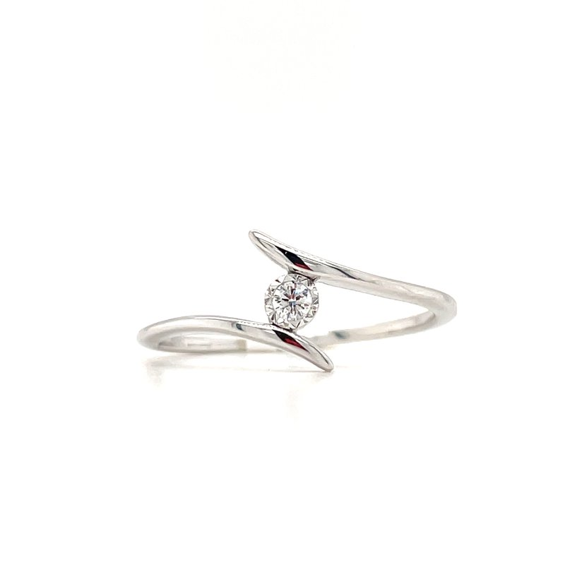 Green Brothers Collection 10KW Diamond Split Shank Solitaire Ring w/ 0.04 ctw