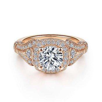 14KRG Diamond Semi-Mount Engagement Ring w/ 0.45 CTW Size 6.5
