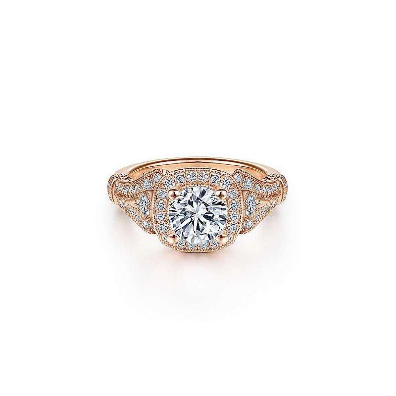 Gabriel & Co. 14KRG Diamond Semi-Mount Engagement Ring w/ 0.45 CTW Size 6.5