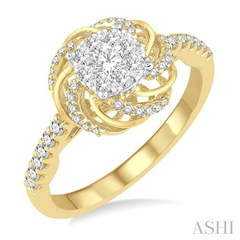 14KY Flower Shape Round Lovebright Fashion Ring w/ 0.55 ctw Size 7