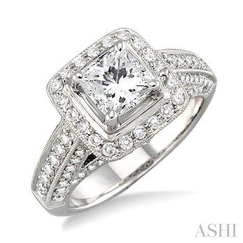 14KW Diamond Engagement Semi-Mount Ring Holds Princess Center Stone w/ 0.65 ctw, Size 6.75