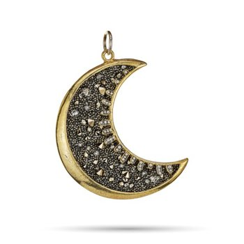 Brass and Sterling Silver Moonshadow Pendant w/ Swarovaski Crystals