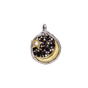 Sterling Silver & Brass Evening Star Pendant w/ Swarovski Crystals