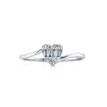 10KW Diamond Round and Baguette Heart Ring, Size 7