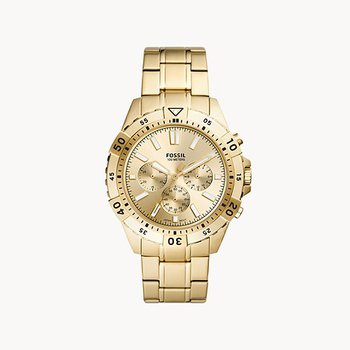 Stainless Steel Gold Toned Round Watch