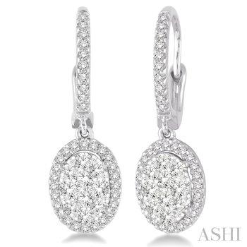 """14KW """"Lovebright"""" Oval Shape Diamond Dangle Earrings w/ 1.50 ctw"""