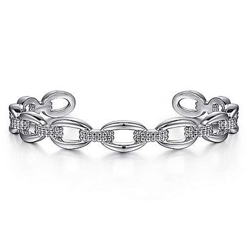 Sterling Silver Oval Link Cuff Bangle