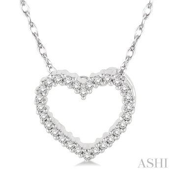 "10KW Diamond Heart Pendant w/ 0.08 ct 18"" Chain"