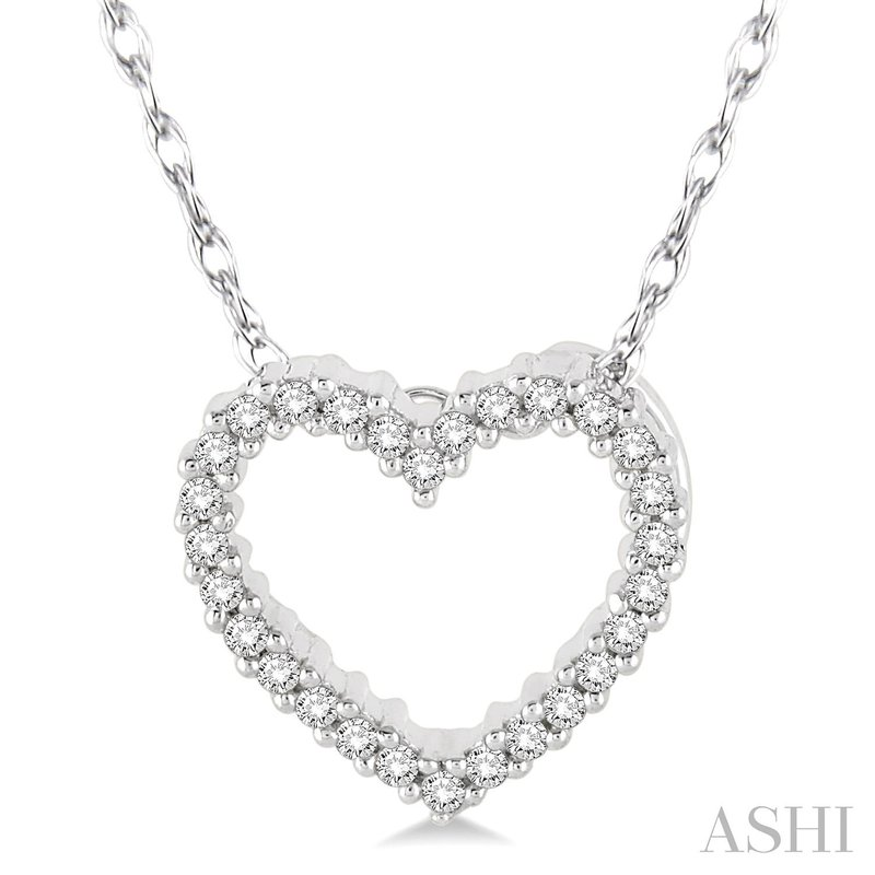 """Green Brothers Collection 10KW Diamond Heart Pendant w/ 0.08 ct 18"""" Chain"""