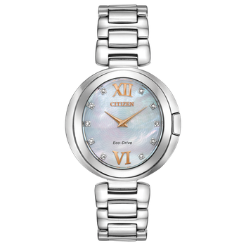Stainless Steel Citizen Eco-Drive w/ Mother of Pearl Face and Genuine Diamonds