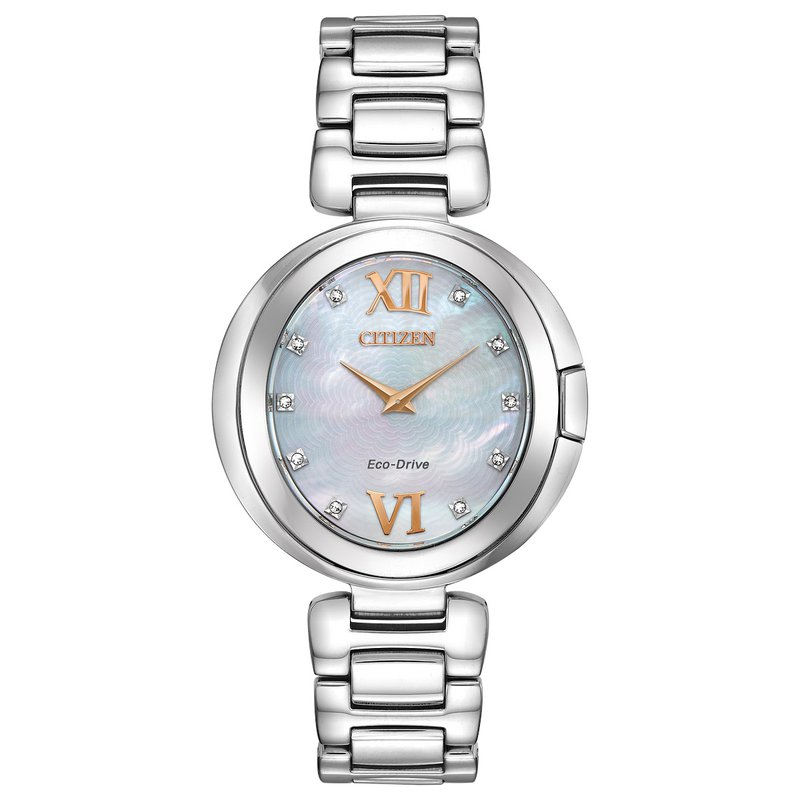 Citizen Watches in Stock Stainless Steel Citizen Eco-Drive w/ Mother of Pearl Face and Genuine Diamonds