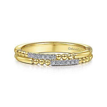 14KY Two Row Beaded Diamond Stackable Ring w/ 0.06 ctw Size 6.5