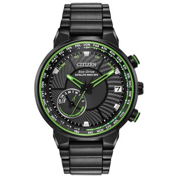 Stainless Steel Black Tone Eco-Drive Satellite Watch w/ Black Face