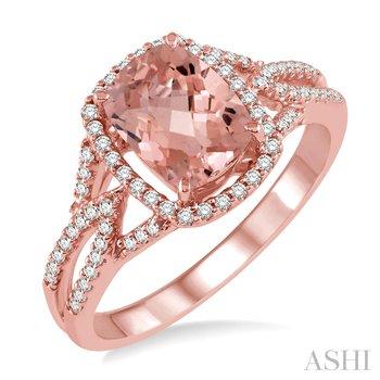 14KR Morganite and Diamond Ring Size 7