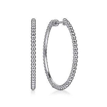 Sterling Silver Beaded Classic Hoop Earrings