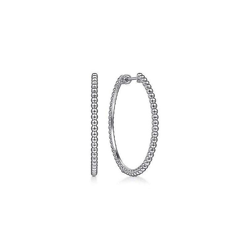 Gabriel & Co. Sterling Silver Beaded Classic Hoop Earrings