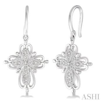 Sterling Silver Cross Diamond Dangle Earrings w/ 0.05 ctw