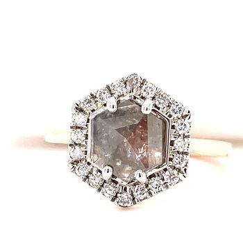 14KR Salt & Pepper Ring w/ Hexagon Diamond Slice Center & 2.09 ctw