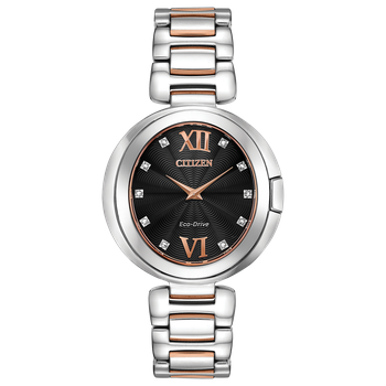 Stainless Steel Two Tone Eco-Drive Watch w/ Black Face and Genuine Diamonds