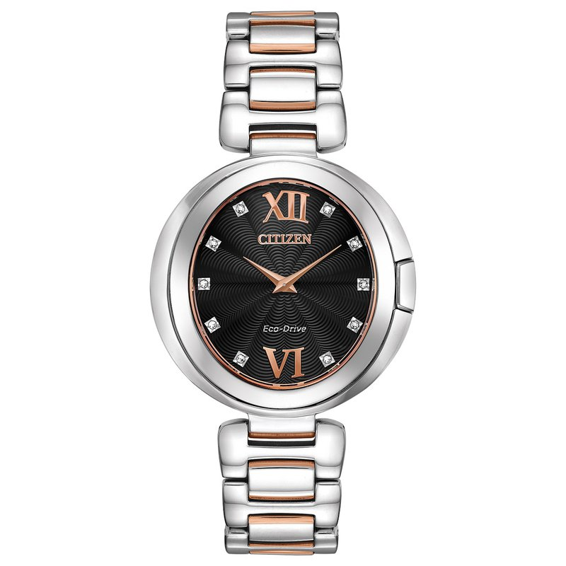 Citizen Watches in Stock Stainless Steel Two Tone Eco-Drive Watch w/ Black Face and Genuine Diamonds
